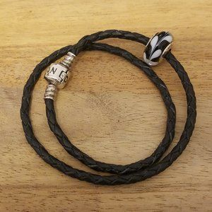 Black Leather Pandora Bracelet With Charm 6.5""